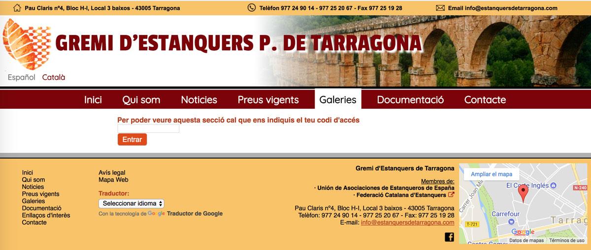 Captura de pantalla del web del gremi d'estanquers de Tarragona